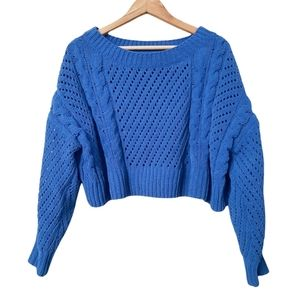 Urban Outfitters Oversized Chunky Knit Cropped Sweater Blue Size XS